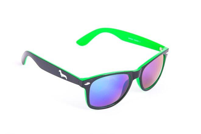 Černo-zelené brýle Kašmir Wayfarer W14 - skla modro-zelená zrcadlová
