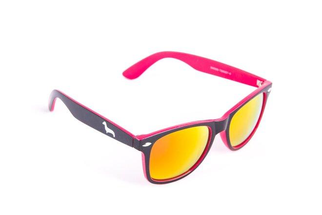 Černo-růžové brýle Kašmir Wayfarer W22 - skla růžová zrcadlová