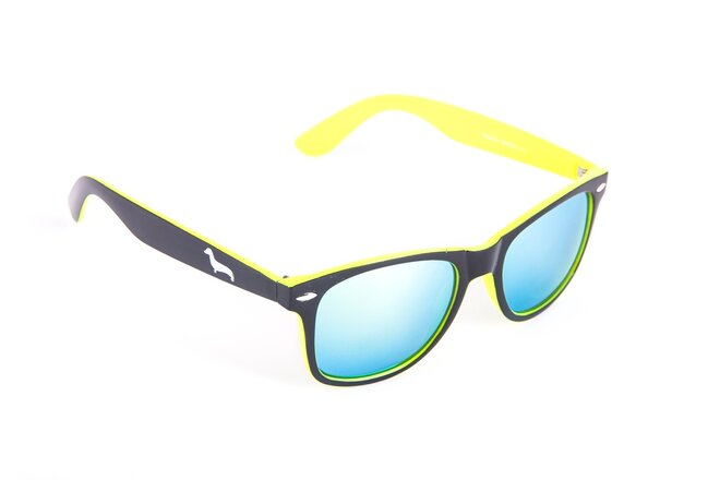 Černo-žluté brýle Kašmir Wayfarer W23 - skla žlutá zrcadlová
