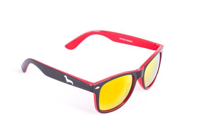 Černo-červené brýle Kašmir Wayfarer W26 - skla červená zrcadlová
