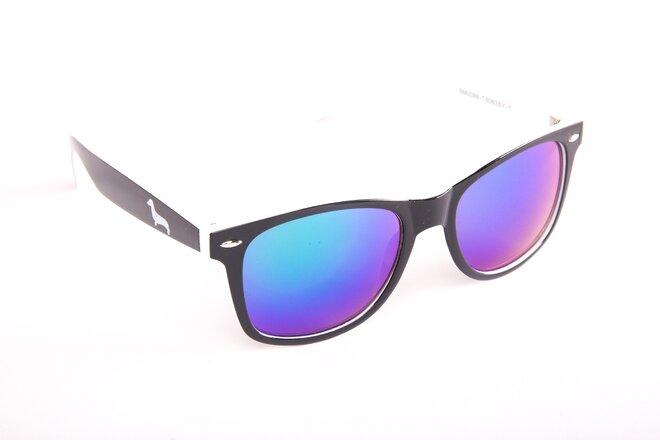 Černo-bílé brýle Kašmir Wayfarer W27 - skla modrá zrcadlová