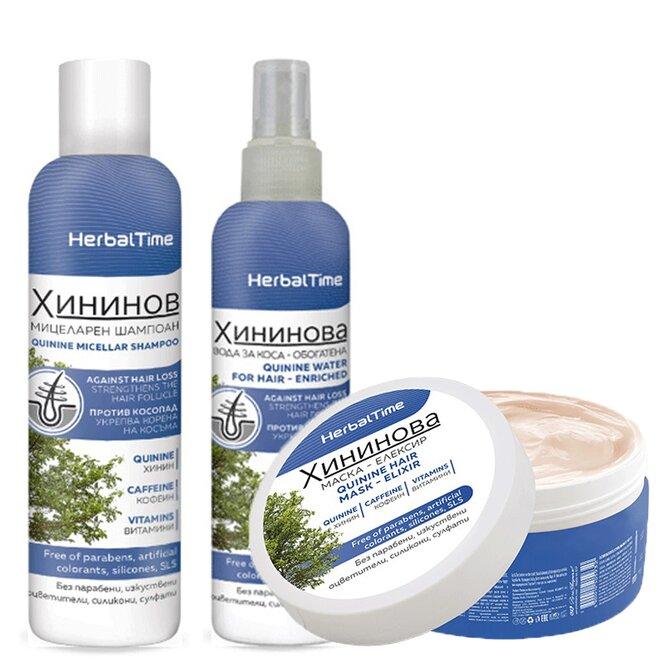 Balíček Herbal Time - chininový šampon, voda i maska na vlasy