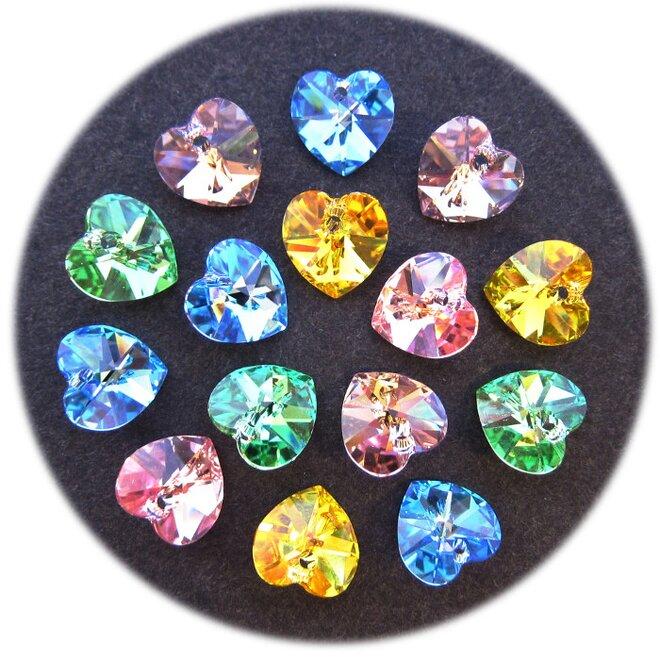 20 ks - Swarovski elements přívěsek - srdce, mix barev
