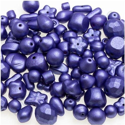 100 g - Skleněné mačkané korálky - modro fialové