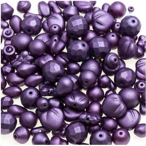 100 g - Skleněné mačkané korálky - fialové