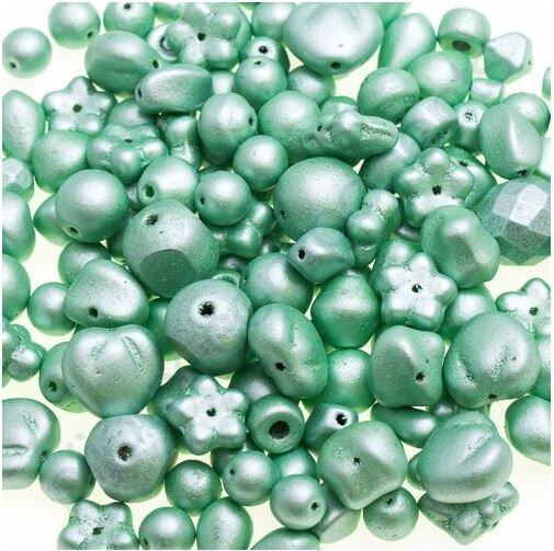 100 g - Skleněné mačkané korálky - světle zelené
