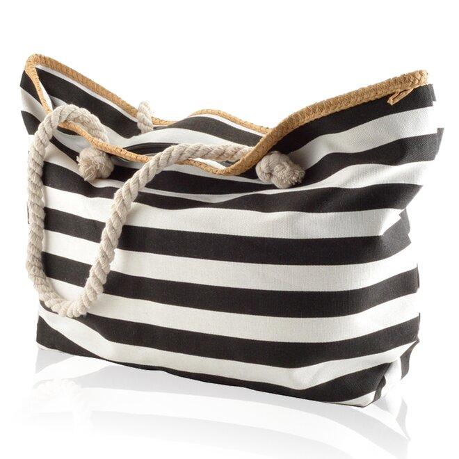 Plážová taška, pruhy, bílo-černá