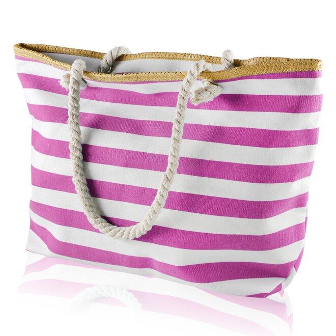 Plážová taška, pruhy, bílo-růžová