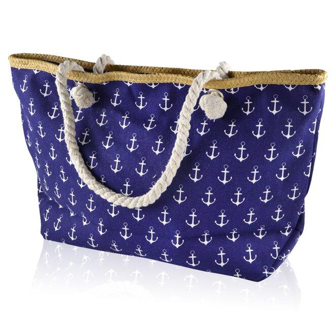 Plážová taška, kotvy, tmavě modrá