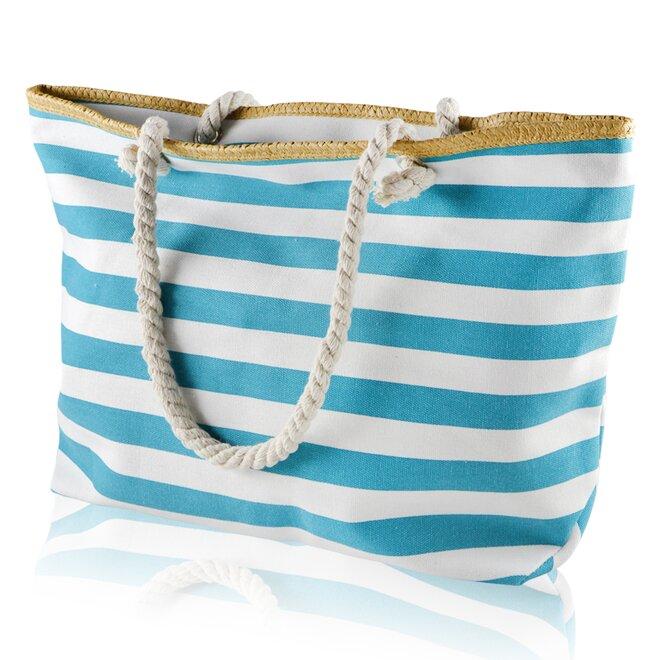 Plážová taška, pruhy, bílo-modrá
