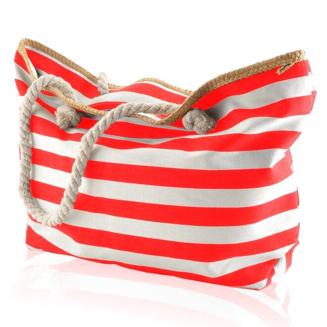 Plážová taška, pruhy, bílo-červená