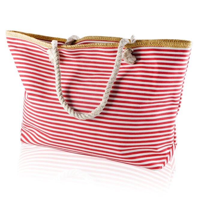 Plážová taška, pruhy tenčí, bílo-červená