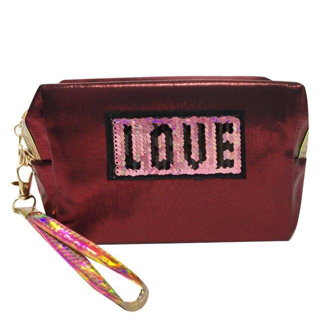 Kosmetická taška Love s flitry