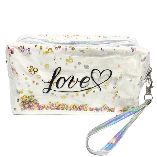 Kosmetická taška Love s flitry 2