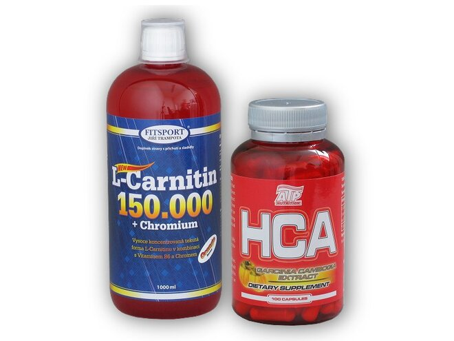 L-Carnitine (150000 mg) + Chromium, 1000 ml + HCA Garcinia Cambogia 100 kapslí