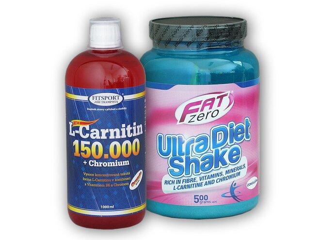 L-Carnitine (150000 mg) + Chromium, 1000 ml + Fat Zero Ultra Diet Shake 500 g
