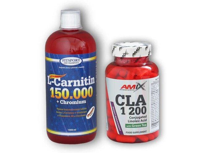 L-Carnitine (150000 mg) + Chromium, 1000 ml + CLA 1200 + Green Tea 120 kapslí