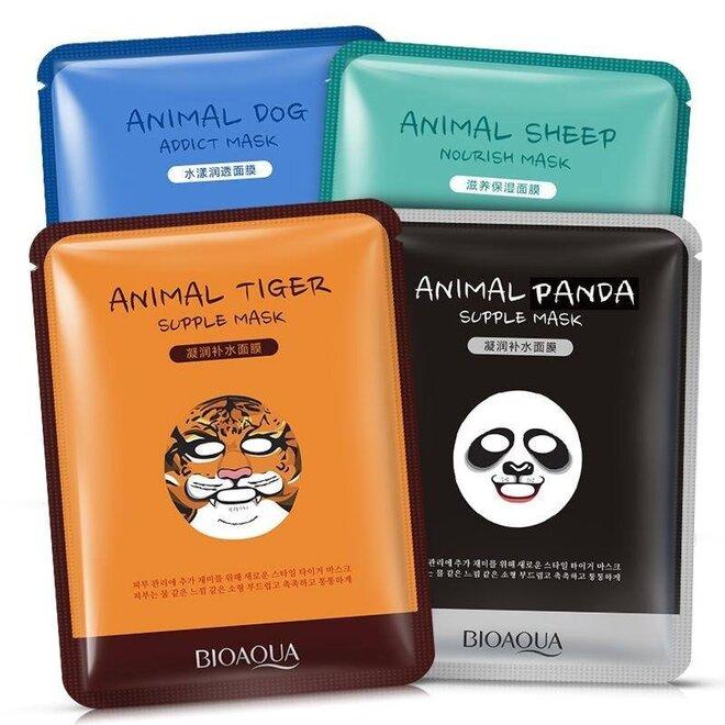 4x pleťová maska Bioaqua - Panda, Tiger, Sheep, Dog