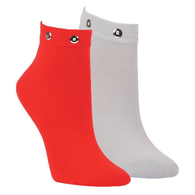 2x dámské ponožky šedá, červená 1529418