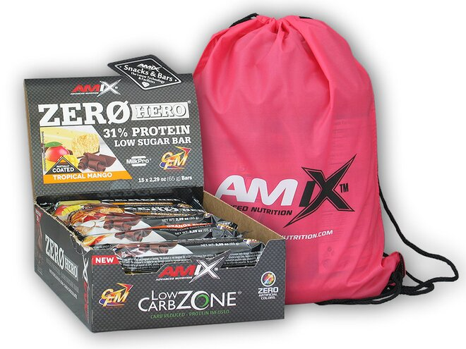 15x Zero Hero High Protein Low Sugar Bar 65 g + Amix BAG