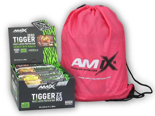 20x Tigger Zero Multi Layer Protein Bar 60g + Amix BAG