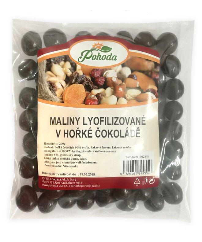 Maliny lyofilizované v hořké čokoládě, 200 g