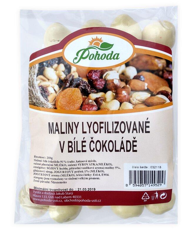 Maliny lyofilizované v bílé čokoládě, 200 g