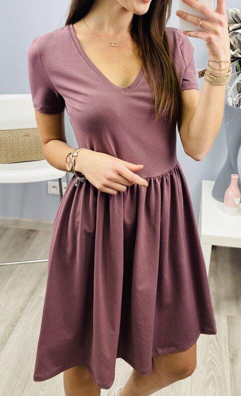 Basic šaty s výstřihem do V