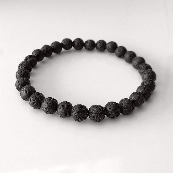 Náramek z lávových kamenů - černý