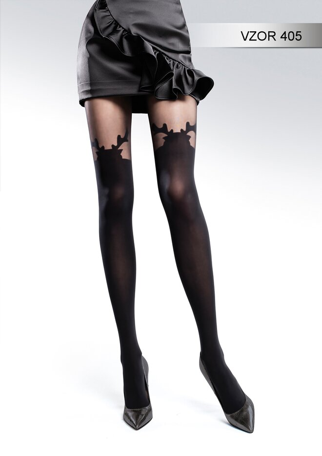 Vzorované punčochové kalhoty vzor 405