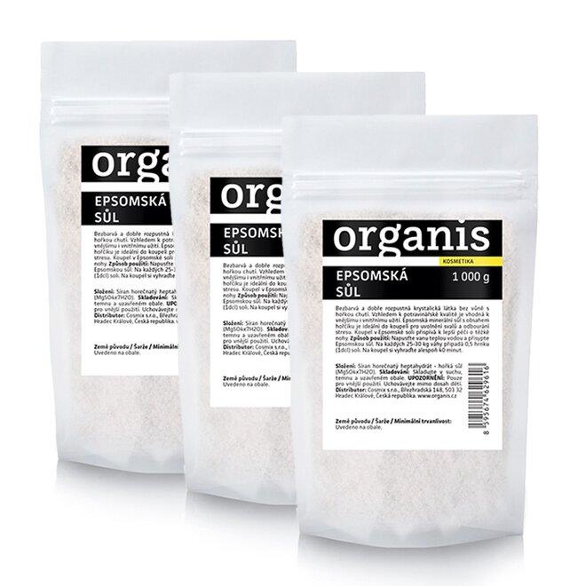 Organis Epsomská sůl, 3x 1000 g