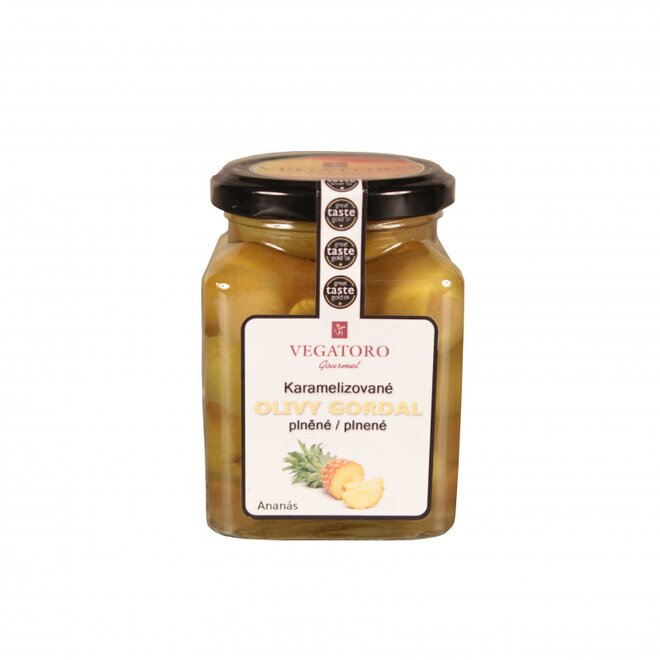 Olivy Gordal karamelizované, plněné ananasem, 300 g