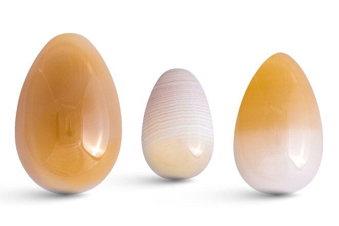 Sada 3 Yoni vajíček – achát