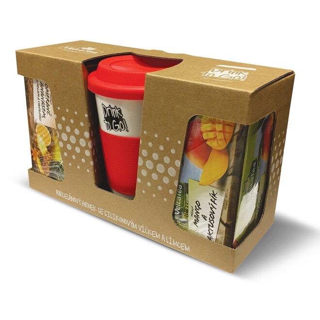 Hrnek keramický červený + 2 x čaj Finest Exclusive