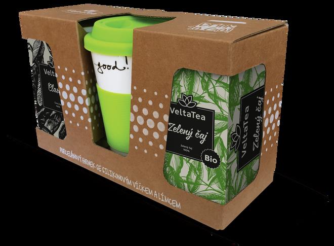 Hrnek keramický zelený + zelený a černý BIO čaj