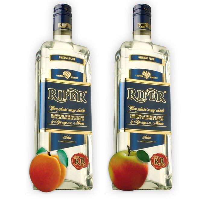 Dvě láhve destilátu Riper - Meruňka + Calvados