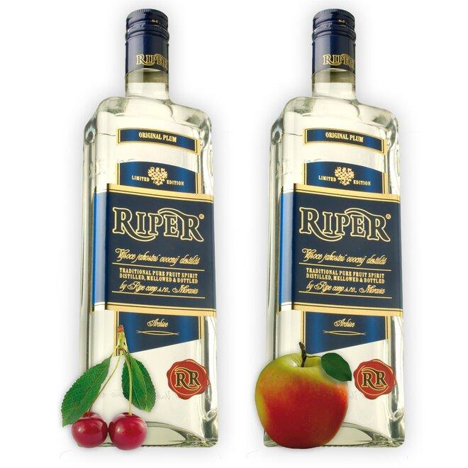 Dvě láhve destilátu Riper — Třešeň + Calvados