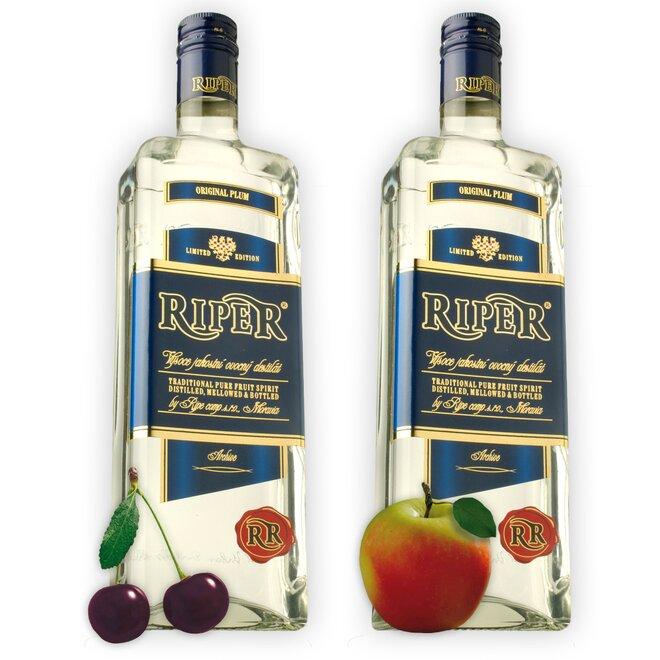 Dvě láhve destilátu Riper - Višeň + Calvados
