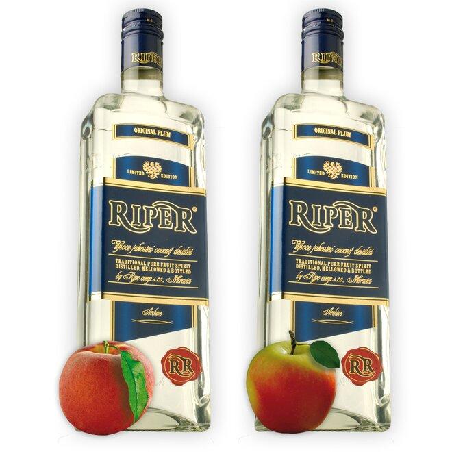 Dvě láhve destilátu Riper — Broskev + Calvados