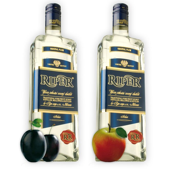 Dvě láhve destilátu Riper - Slivovice + Calvados