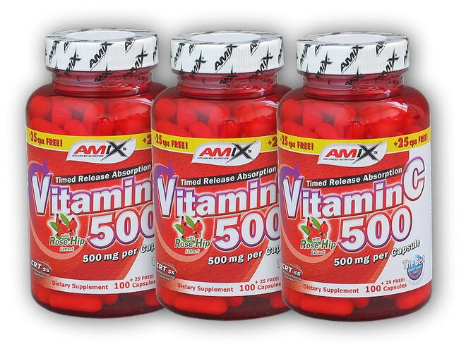 Vitamin C 500 mg + Rose Hips 125 kapslí