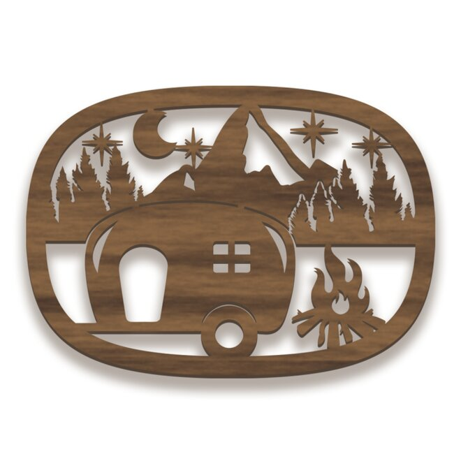 Dřevěný obraz - kemping