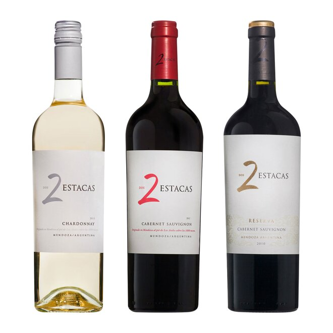 Set Chardonnay a dvou typů Cabernet Sauvignon
