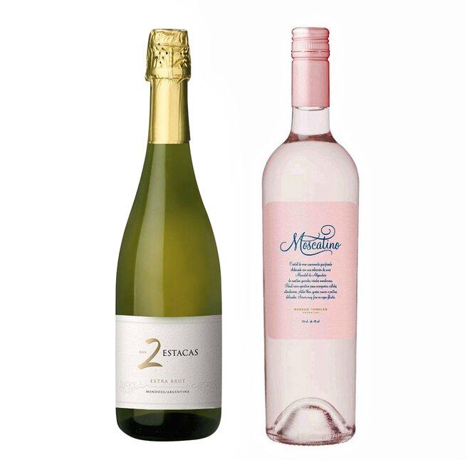 Set argentinských vín Moscatino a Extra brut Reserva