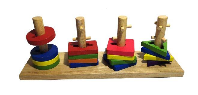 Dřevěná naučná a motorická hra V