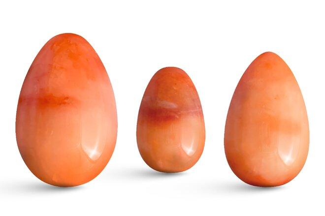 Sada 3 Yoni vajíček – červený jadeit