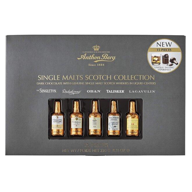 Čokoládové lahvičky s výběrem Single Malt whisky, 230 g / 15 lahviček