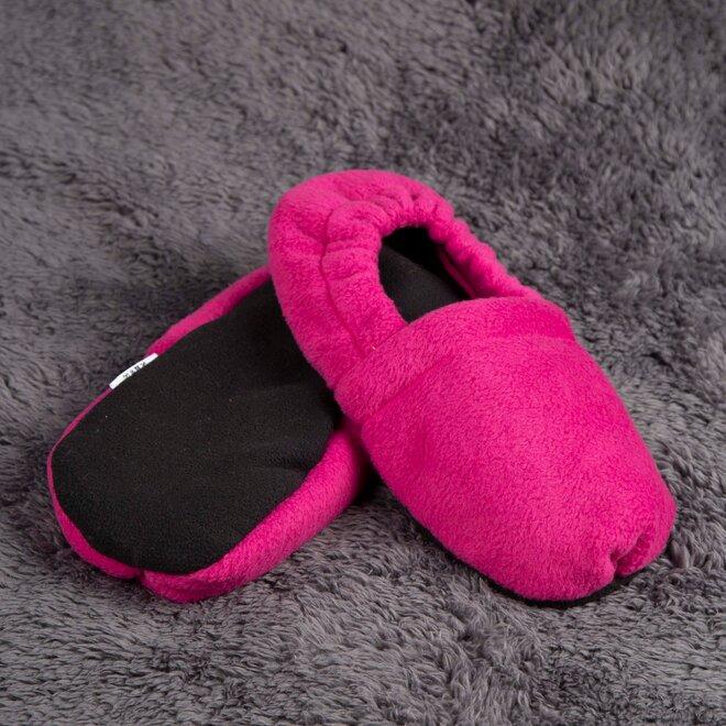 Nahřívací papuče, tmavě růžové s černou