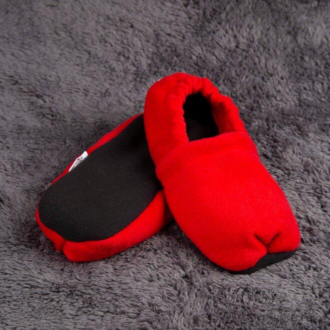 Nahřívací papuče, červeno-černé