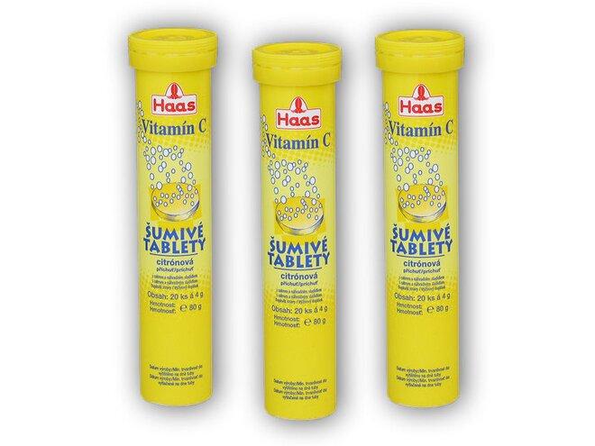 3x Haas Vitamin C citron 20 šumivých tablet